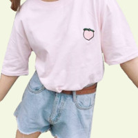 Embroidered Peach Tee