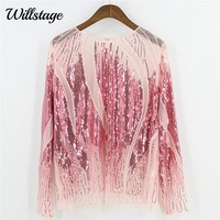 Willstage Women Sequins Tops Pink T-shirts Long Sleeve Sexy Mesh Shirts Pearl Bling Party Black Embroidery blusa 2018 Spring TEE