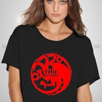 Bull-shirt.com Fire and Blood Game of The Thrones Flowy Boxy T-shirt Bull-shirt.com