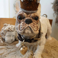 Crowned French bulldog statue hand painted white cream adorned Frenchie w/  handmade crown and rhinestone leash ooak by anita spero design