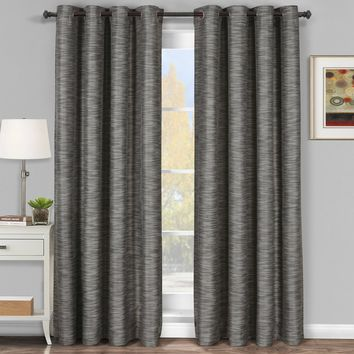 Gray Galleria Blackout Thermal Coating Tonal Stripe Window Grommet Curtain (Single Panel)