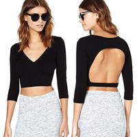 Black V-Neck Cutout Back Crop Top