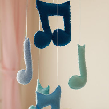 Baby Boy Mobile - Music Notes Mobile - Blue Baby Mobile - Music Notes Crib Mobile - Baby Boy Room Decoration - Felt Baby Boy Mobile