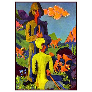 Shepherds in the Evening by Ernst Ludwig Kirchner Counted Cross Stitch Pattern