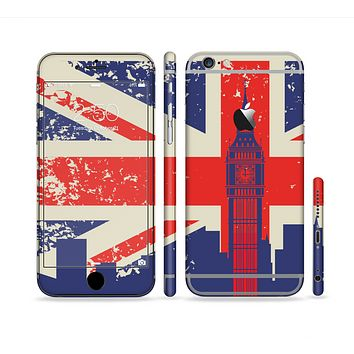 The Vintage London England Flag Sectioned Skin Series for the Apple iPhone 6