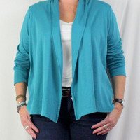 LL Bean L size Fly Away Jacket Teal Blue Cotton Long Sleeve Stretch