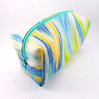 Blue and Yellow Ikat Makeup Bag, Gadget Case, Under 15, Pencil Case, Medium, Zippered, Cosmetic Case, For Her