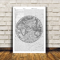 Antique art World map poster Vintage print Wall decor RTA81