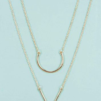 Emily Double Pendant Layered Necklace