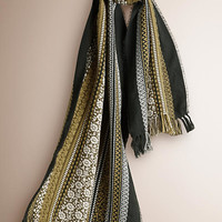 Jacquard Wool Cotton and Cashmere Scarf