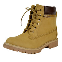 Womens Ankle Boots Rugged Zipper Accent Lace Up Hiking Shoes Tan SZ