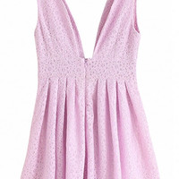 V Neck Lace Sleeveless Pleated Mini Dress