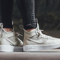 auguau Nike Air Force 1 Ultraforce Mid 864025 Grey For Women Men Running Sport Casual Shoes Sneakers