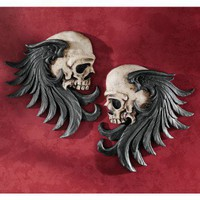 Design Toscano Bad to the Bones Winged Skull Sentinel Wall Sculpture (Set of Two) - CL5781 - All Wall Art - Wall Art & Coverings - Decor