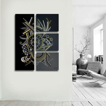 "Original abstract painting. 4 piece canvas art. 36x27"" Large painting. Black painting by Jo Diquez"