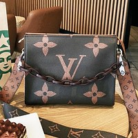 LV Louis vuitton fashion hot selling printed letter ladies chain cross - dressing bag