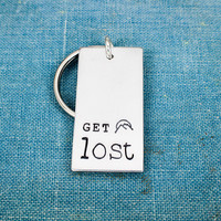 Get Lost Key Chain - Outdoors - Nature - Mountains - Explore - Aluminum Key Chain