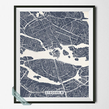 Stockholm Map, Sweden Poster, Stockholm Print, Sweden Print, Stockholm Poster, Sweden Map, Street Map, Home Decor, Wall Art