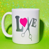 Hair Dresser Coffee Mug / Stylist Gift / Love Shear / Cosmetology Gift / Salon Mug / Hair Salon Mug / Hair Stylist Gift / Clippers, Scissors