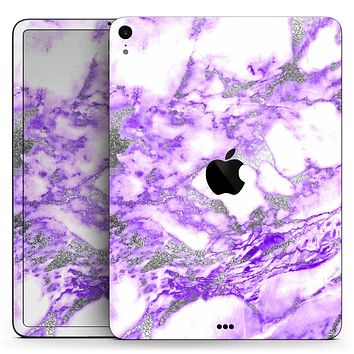"Purple Marble & Digital Silver Foil V9 - Full Body Skin Decal for the Apple iPad Pro 12.9"", 11"", 10.5"", 9.7"", Air or Mini (All Models Available)"