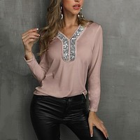 fhotwinter19 new style hot sale casual women's solid color stitching V-neck sequin four-way stretch women's long-sleeved T-shirt