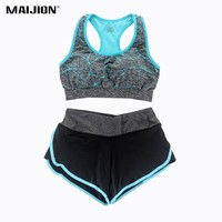 MAIJION Women Yoga Set Fitness Gym Running Sport Suit ,Yoga Padded Sports Bra + Cropped Trousers Sport Shorts Workout Clothes