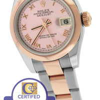 2009 MINT Ladies Rolex DateJust 26mm Pink 18K Two Tone Rose Gold 179161 Watch