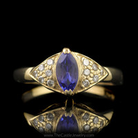 Marquise Tanzanite Ring with Pave Diamond Accents in 14K Yellow Gold