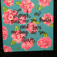 Lily Pullitzer Pattern with Quote Canvas