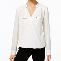 INC International Concepts Zip-Pocket Surplice Blouse, Only at Macy's - Tops - Women - Macy's