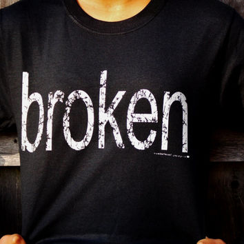 Broken Shirt. Distressed Print Long Sleeved T-Shirt. Customize To Size And Color.