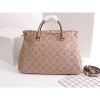 LV Popular Fashion Full-print Single Shoulder Bag Khaki