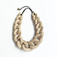 Nude Oversized Chain Necklace, Beige Statement Necklace, Big Chain Link Necklace