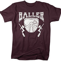 Shirts By Sarah Men's Paintball T-Shirt Baller Shirts Mask Guns