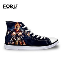 Skull Harley print Ghost Rider Canvas Shoes Punk Rock  High Lace Up Men's Shoes Breathable Superstar Male Footwear Walking Shoes