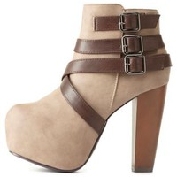 Belted Platform Chunky Heel Booties by Charlotte Russe - Taupe
