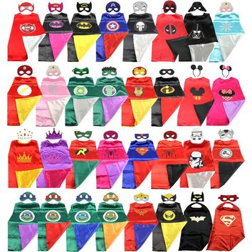 Superhero cape (1CAPE+1MASK)batman super Hero Costume for Children Halloween  Party Costumes for Kids superman spiderman