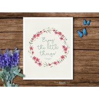 Enjoy The Little Things floral typography art print