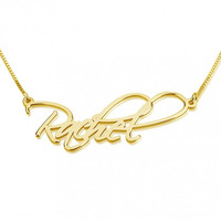 Scrypt Name Necklace - 24K Gold Plated