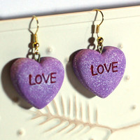 Valentine Heart Earrings - Repurposed Ornaments - Clay Earrings - Fashion Earrings - Conversation Heart - LOVE Purple