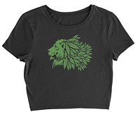 Lion Head with Weed Mane Cropped T-Shirt