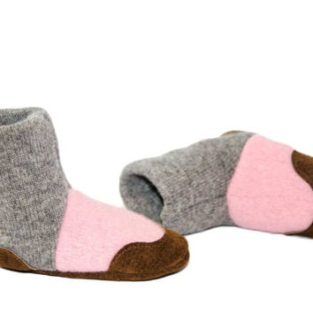 Cashmere Baby Shoes, Toddler Slipper Boots, Felted Cashmere Slippers