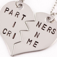 partners in crime broken heart necklace set | best friend gift | stainless steel  (BL)
