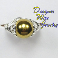 DWJ0147 Lovely Gold Hematite Wire Wrap Ring All Sizes