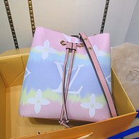 LV Louis Vuitton Hot Sale Gradient Color Printed Letters Ladies Cross Shoulder Bag Bucket Bag Pink