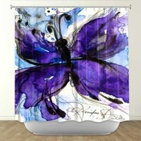 DiaNoche Designs Shower Curtains by Arist Kathy Stanion Unique, Cool, Fun, Funky, Stylish, Decorative Home Decor and Bathroom Ideas - Butterfly Song IV