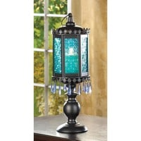 Exotic Azure Glass Pedestal Candle Lantern Decor
