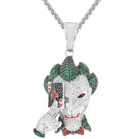 Men's Joker Face Ace Playing Card Iced Out Pendant Chain