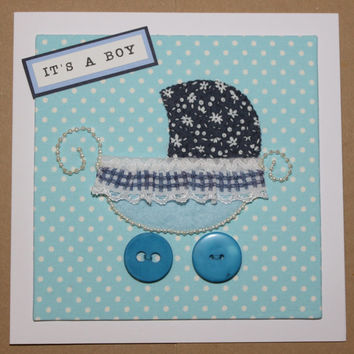 Shabby Chic Vintage Pushchair Baby Card Blue