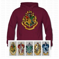 Fashion HOGWART School Crests Logo Hoodies Hogwarts Gryffindor Ravenclaw Hufflepuff Slytherin Schools Art Graphic Casual Hoodies